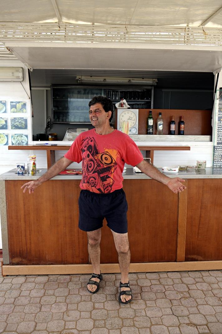 Eftychis in his beach box bar